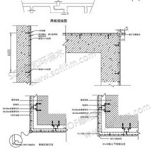 绿和生态木墙板安装节点图
