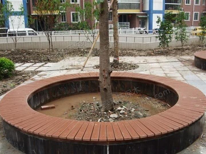 圆形树池效果图; 供应塑木花池 海口塑木花池案例效果图 塑木花池